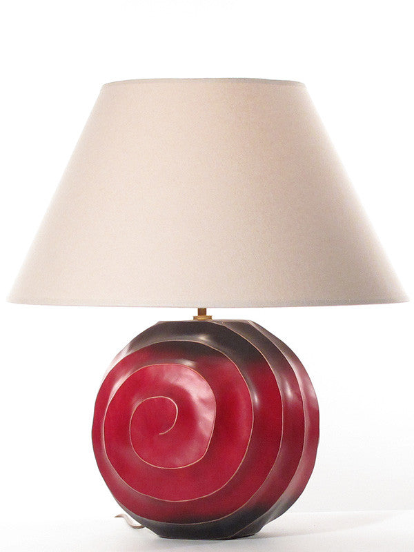 Swirl Lamp Large Wood, Red and Black