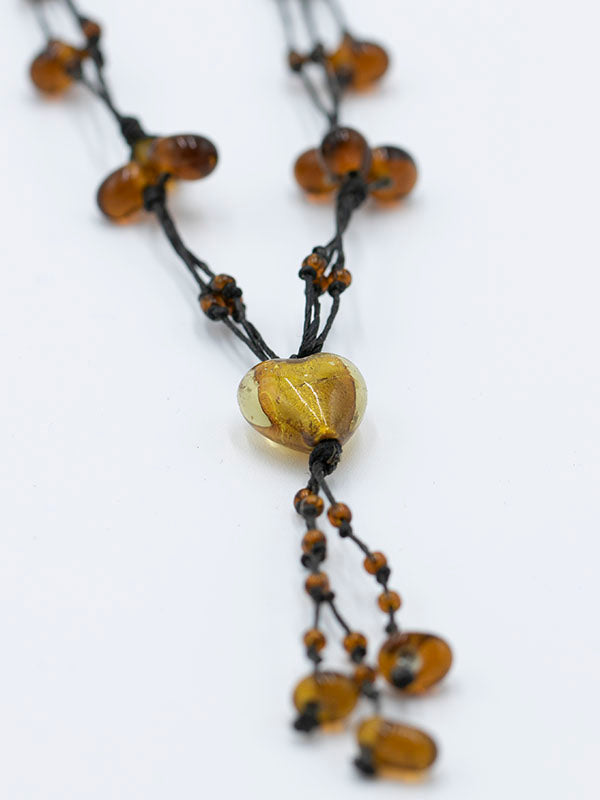 Amber Heart Bead Necklace