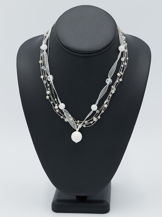 White Ribbon Necklace