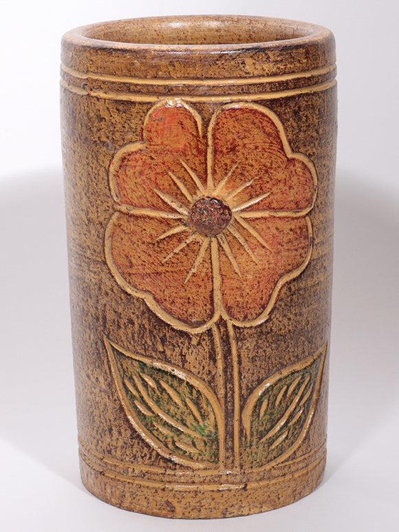 Pottery Vase - with Flower Motif