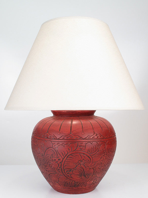 Engraved Floral Lamp