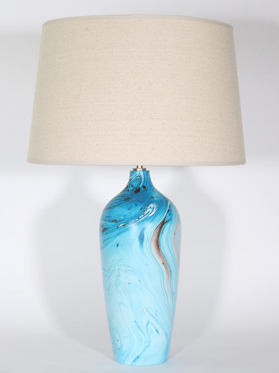 Bottle Lamp - Blue Swirl