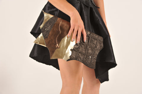 CHIC GOLDISH by EvilEve. Unique handmade leather clutch