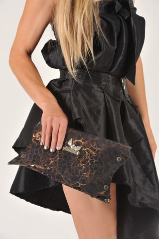 BLACK ANGEL by EvilEve. Unique handmade leather clutch