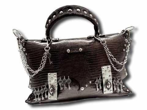 Handmade leather silvershine bag with keys (silverish gray) - EvilEve leather luxury fashion