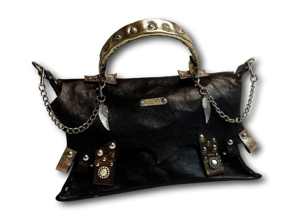 Handmade leather bag (black/gold) - EvilEve leather luxury fashion