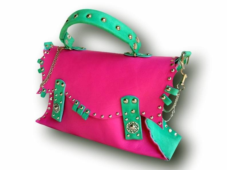 Handmade leather bag (pink/green)