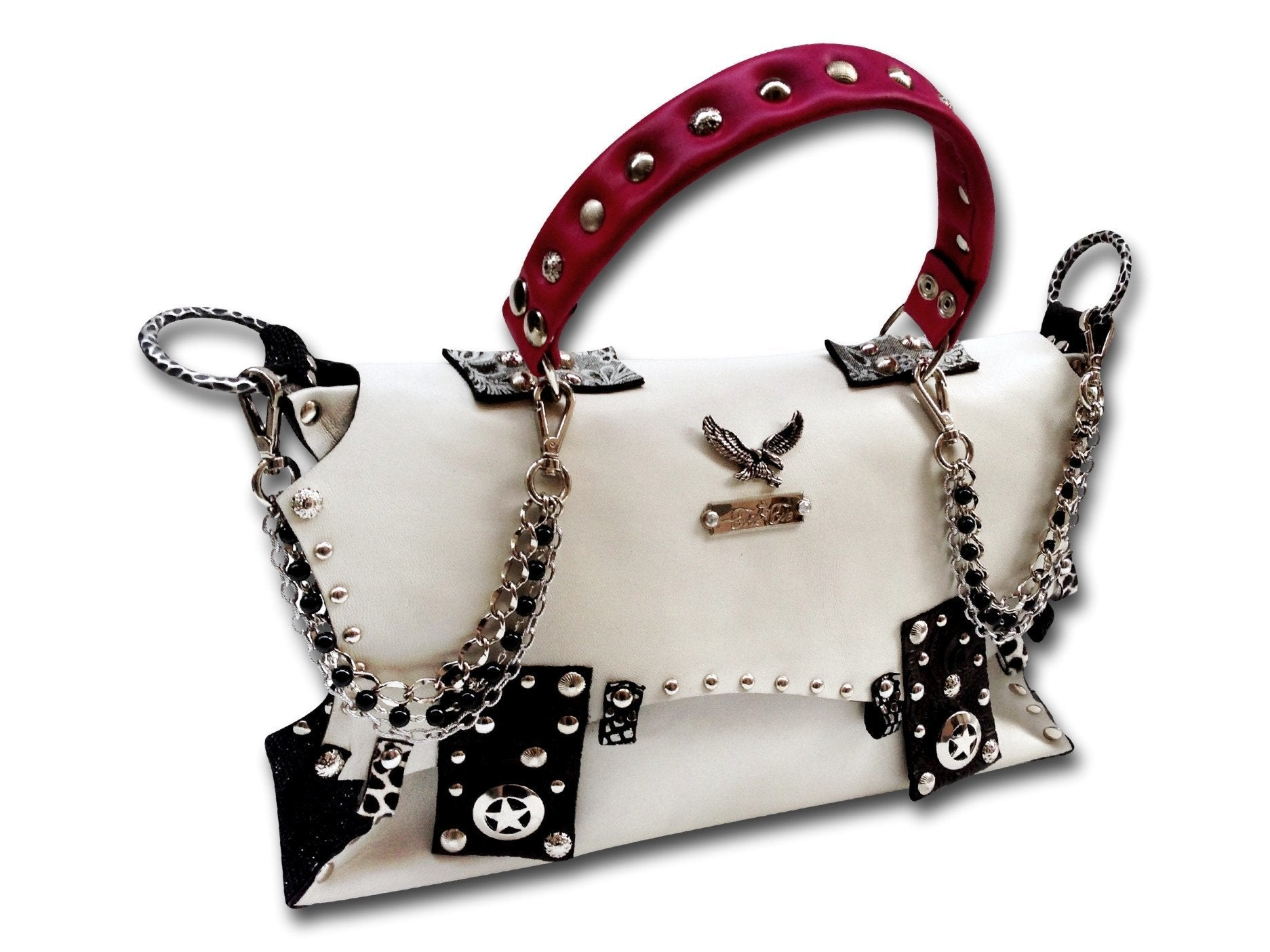 Handmade leather bag with pink handle (white/pink/black/silver)