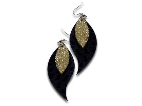 Handmade leather drop earrings LEAVES (gold/black) - EvilEve leather luxury fashion