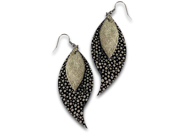 Handmade leather drop earrings LEAVES (silverish/dotted) - EvilEve leather luxury fashion