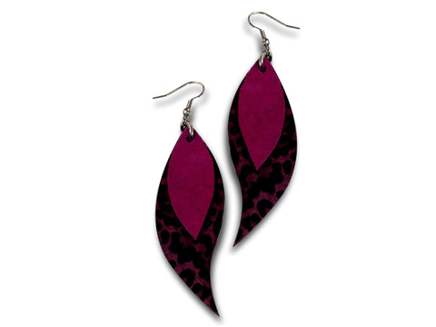 Handmade leather drop earrings LEAVES (purple/animal print) - EvilEve leather luxury fashion