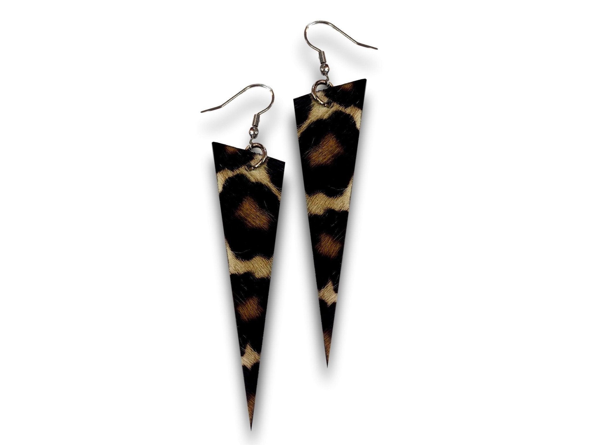 Handmade leather earrings SPIKES (tiger/brown/cavallino)