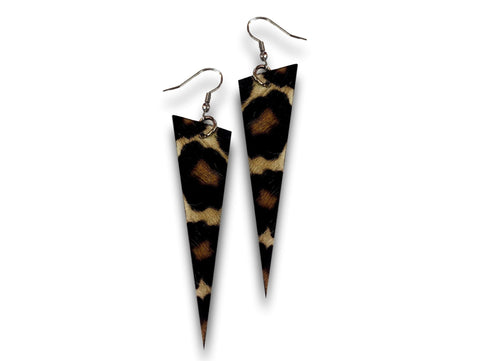 Handmade leather earrings SPIKES (tiger/brown/cavallino) - EvilEve leather luxury fashion