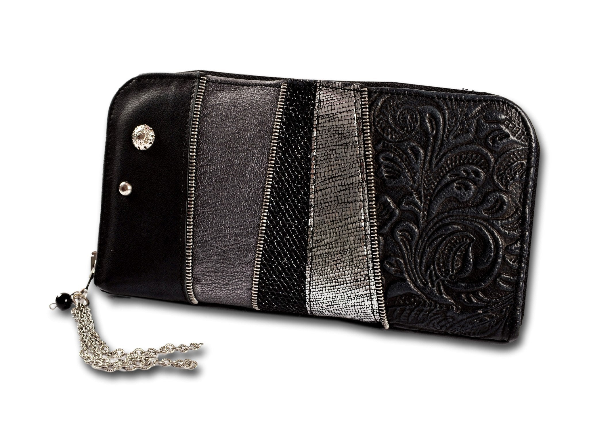 Handmade leather wallet (black/silver/grey)