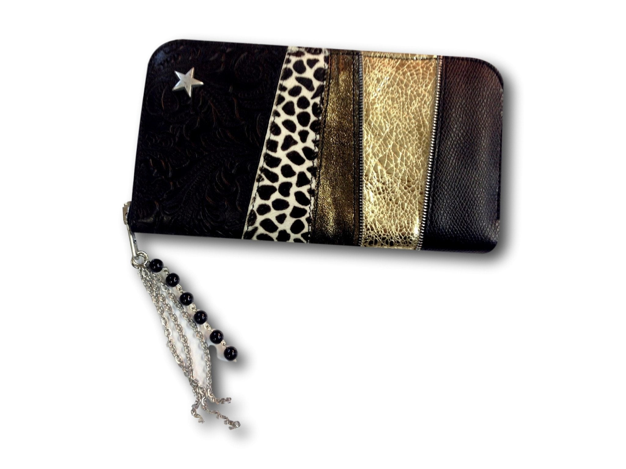 Handmade leather wallet (black/white/gold)