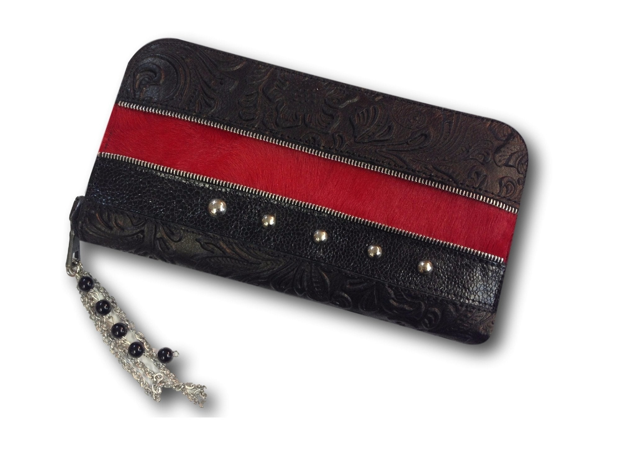 Handmade leather wallet (red/black)