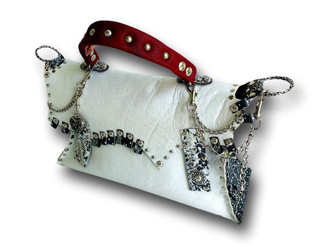 Handmade leather bag (white/black/red) - EvilEve leather luxury fashion - 1