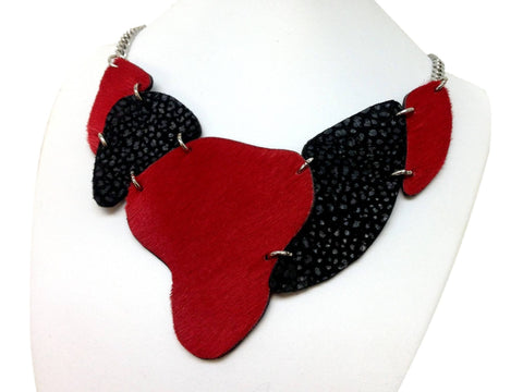 Handmade leather necklace ARMADILLO (red/black) (2-in-1) - EvilEve leather luxury fashion - 1