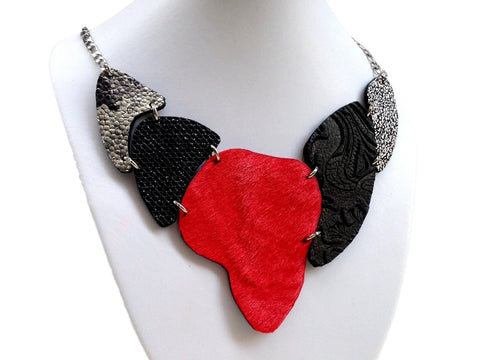 Handmade leather necklace ARMADILLO double face-2in1-reversible (black/red/cavallino)  (2-in-1) - EvilEve leather luxury fashion