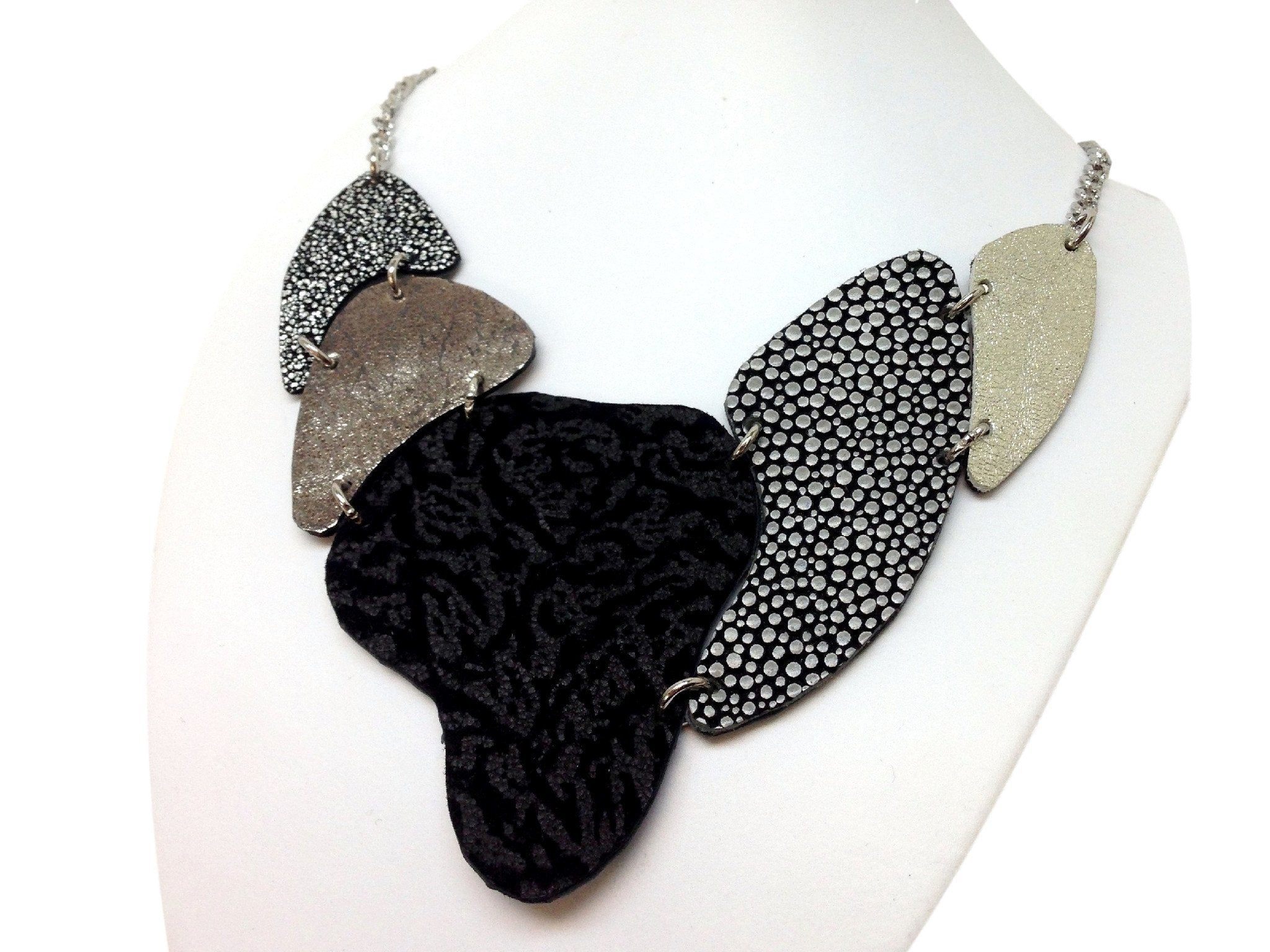 Handmade leather necklace ARMADILLO (black/silver/gold) (2-in-1)