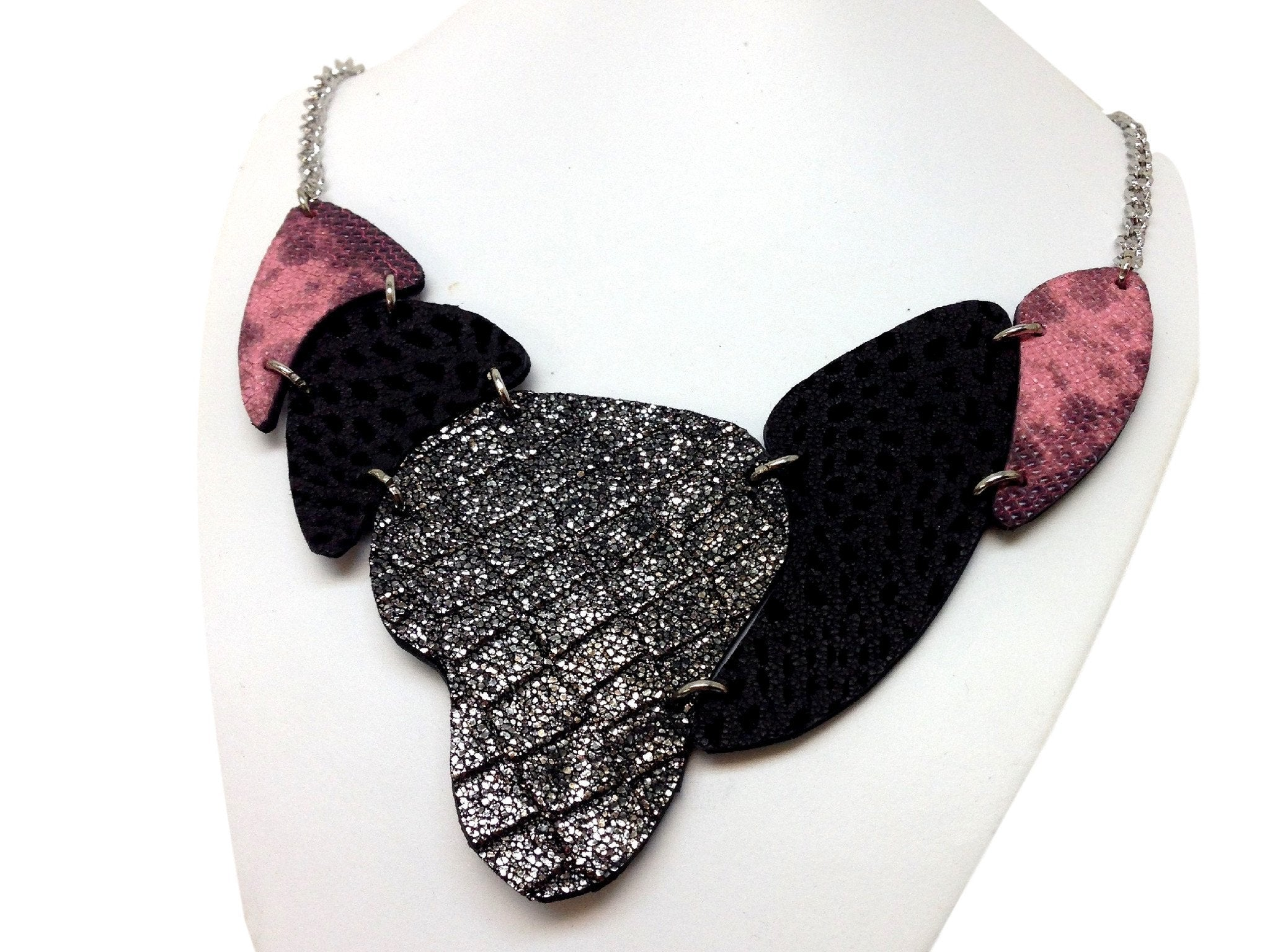 Handmade leather necklace ARMADILLO (black/silver/purple) (2-in-1)