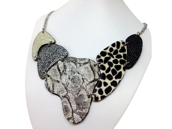 Handmade leather necklace ARMADILLO (silver/cow) - EvilEve leather luxury fashion