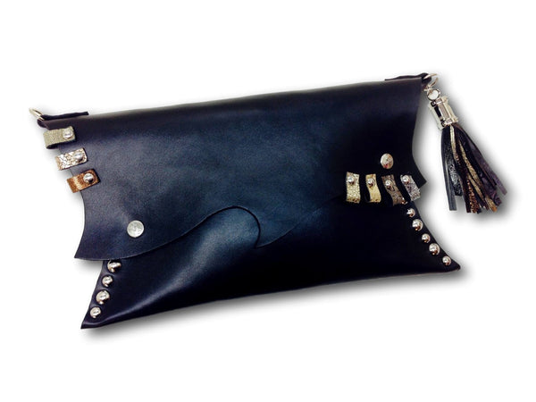 Handmade leather clutch (black) - EvilEve leather luxury fashion