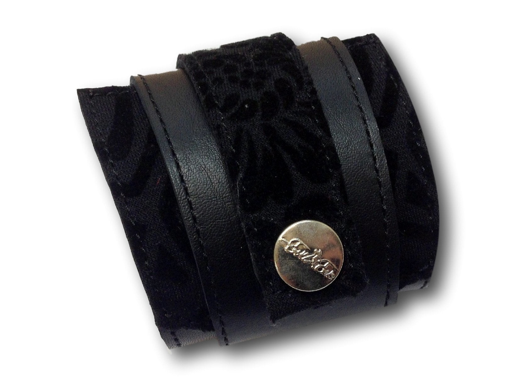 Handmade leather wrap around bracelet (black)