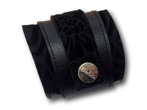Handmade leather wrap around bracelet (black) - EvilEve leather luxury fashion - 1