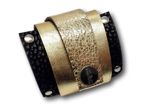 Handmade leather wrap around bracelet (gold/black) - EvilEve leather luxury fashion - 1