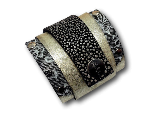 Handmade leather wrap around bracelet (gold/dotted) - EvilEve leather luxury fashion - 1