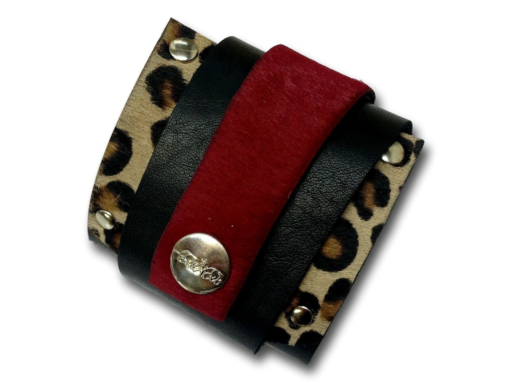Handmade leather WRAP AROUND bracelet (black/caret red/tiger)