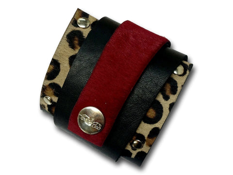 Handmade leather WRAP AROUND bracelet (black/caret red/tiger) - EvilEve leather luxury fashion