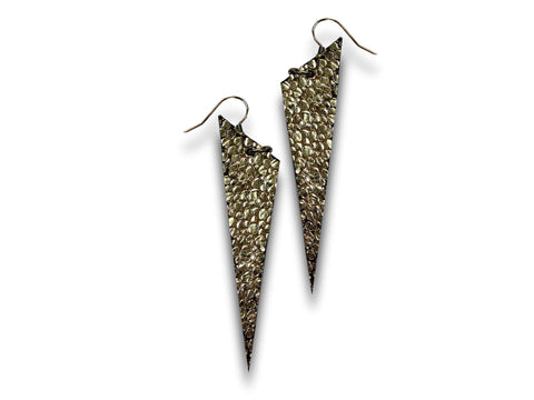 Handmade leather drop earrings SPIKES (gold) - EvilEve leather luxury fashion