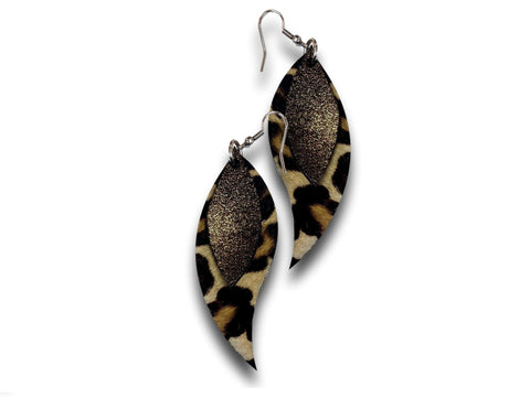 Handmade leather drop earrings LEAVES (gold/animal print/cavallino) - EvilEve leather luxury fashion