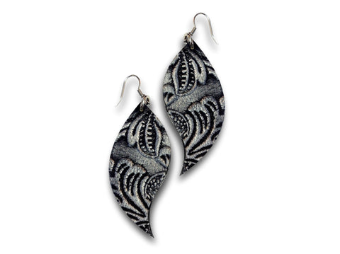 Handmade leather drop earrings LEAVES (silver/black/texture) - EvilEve leather luxury fashion