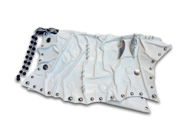Handmade leather steampunk clutch (white) - EvilEve leather luxury fashion