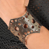 Handmade leather bracelet REVERSIBLE 2-in-1 (silver) - EvilEve leather luxury fashion - 1