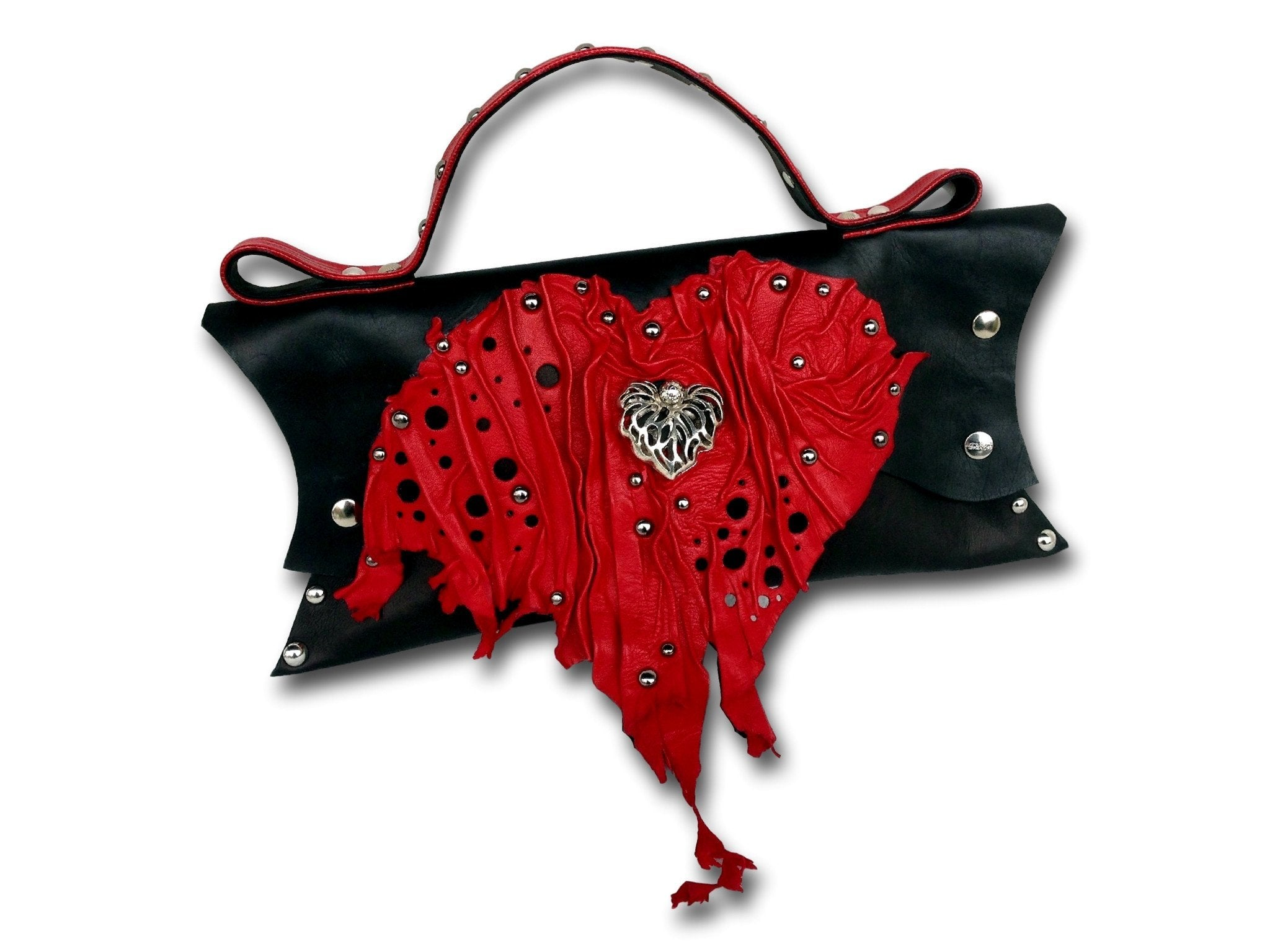 Handmade leather HEART bag (black/red)