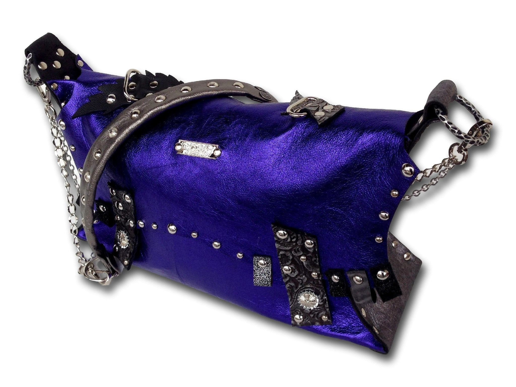 Handmade leather bag (purple)