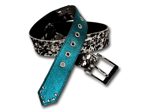 Handmade leather belt 2-in-1 (black/silver/turquoise/white/grey/cavallino) - EvilEve leather luxury fashion
