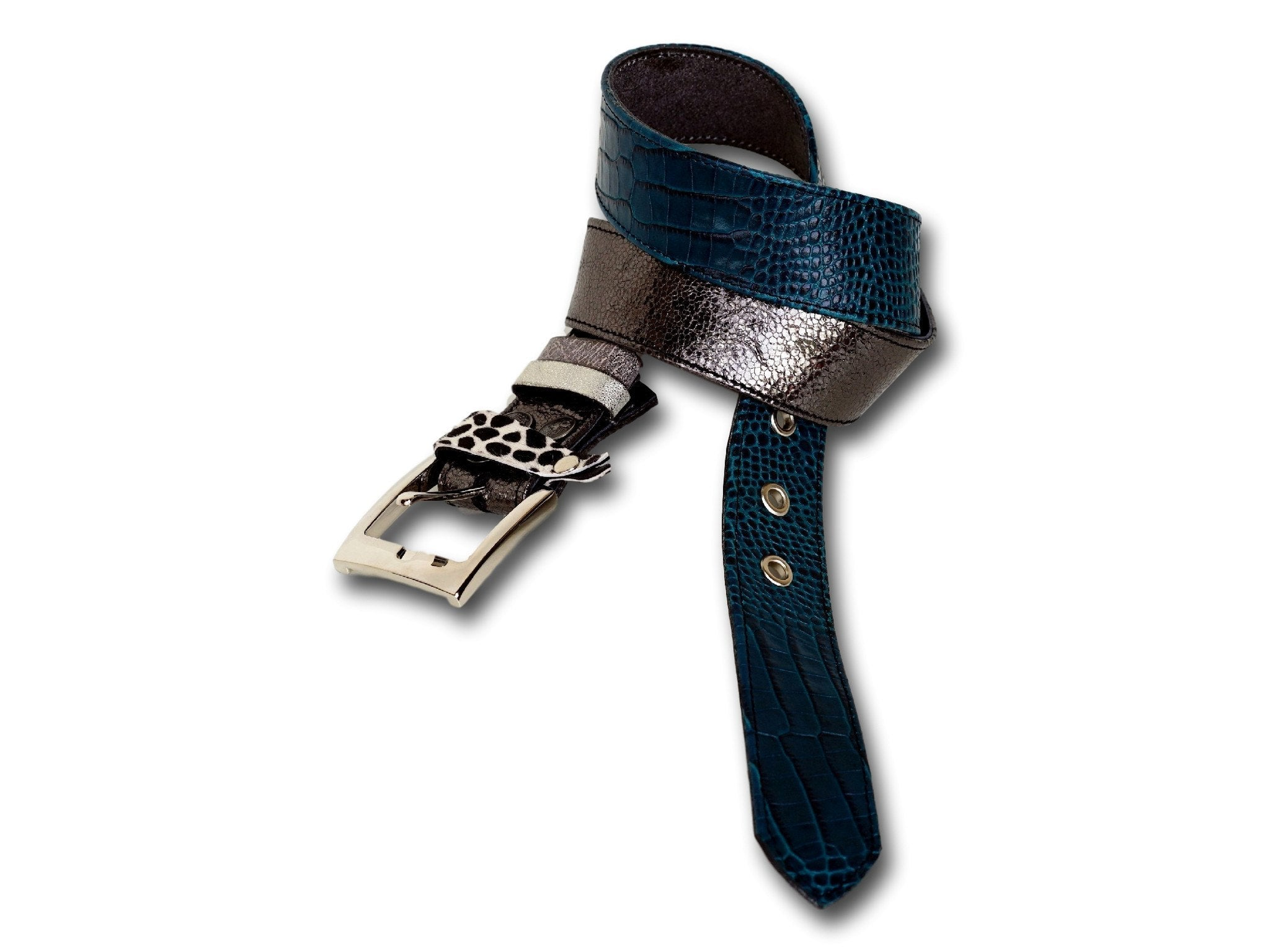 Handmade leather belt 2-in-1 (turquoise/shiny anthracite gray)