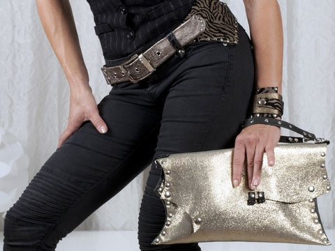 Handmade leather clutch (golden glitterish) - EvilEve leather luxury fashion - 1