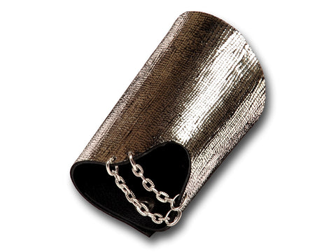 Handmade leather GLAM bracelet 2-in-1, REVERSIBLE (silverish) - EvilEve leather luxury fashion - 1