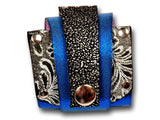 Handmade leather wrap around bracelet (blue/grey) - EvilEve leather luxury fashion - 1
