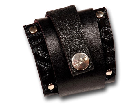 Handmade leather wrap around bracelet (shiny black) - EvilEve leather luxury fashion - 1