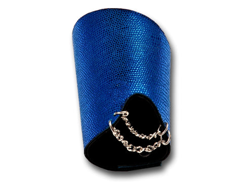 Handmade leather GLAM bracelet 2-in-1, REVERSIBLE (shiny blue) - EvilEve leather luxury fashion - 1