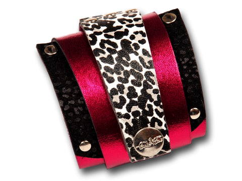 Handmade leather wrap around bracelet (magenta/black) - EvilEve leather luxury fashion - 1