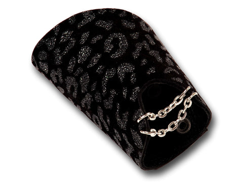 Handmade leather GLAM bracelet 2-in-1, REVERSIBLE (shiny black) - EvilEve leather luxury fashion - 1