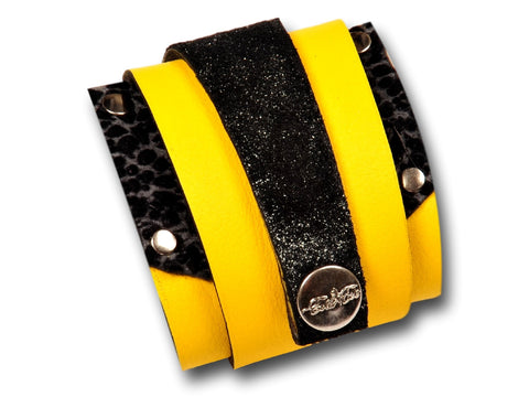 Handmade leather wrap around bracelet (yellow/black) - EvilEve leather luxury fashion - 1